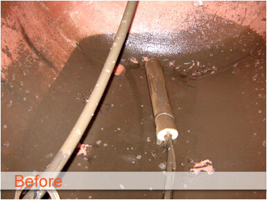 murky bacteria filled cistern tank before photo