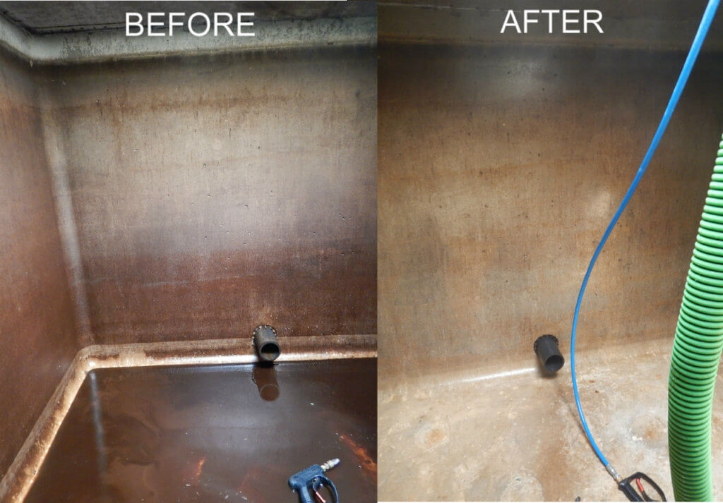 Cistern Cleaning Before and After West Country Pump